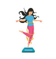 a happy girl jumps of floor scales and smile vector image vector image