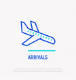 arrivals thin line icon plane is landing vector image