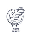 auto travel line icon concept auto travel vector image vector image