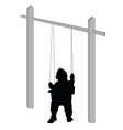 baby on a swing silhouette vector image vector image