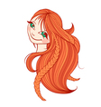 Beautiful red-haired woman with long hair vector image vector image
