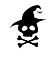 black silhouette of skull in witch hat isolated vector image