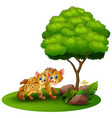 cartoon adult hyena and cub hyena under a tree on vector image vector image
