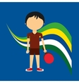 cartoon ping-pong player brazilian label vector image vector image