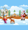 cartoon santa claus cartoon and little girl in the vector image vector image