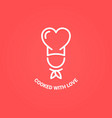 chef with heart logo cooked with love concept vector image