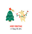 christmas holiday greetings with cute funny mouse vector image vector image