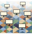 Computer connection on retro background vector image vector image