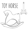 Cute black and white or coloring book horse toy vector image vector image