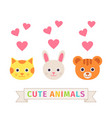 cute cat hare bear faces in flat design vector image vector image