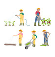 farming man with can icons set vector image