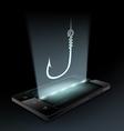 fishhook on smartphone vector image vector image