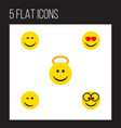 flat icon gesture set of smile angel pleasant vector image vector image
