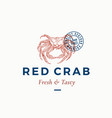 fresh and tasty red crab abstract sign vector image