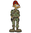 Funny soldier in a camouflage dress vector image vector image