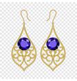 golden earrings mockup realistic style vector image