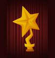 golden trophy in shape yellow star image vector image vector image