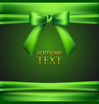 green background with bow and ribbon vector image vector image