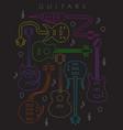 guitar in neon colors vector image vector image
