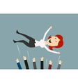Happy businesswoman flying in the air vector image