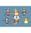 Happy cartoon monkey dancing party birthday vector image vector image