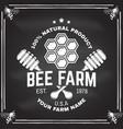 honey farm badge on chalkboard vector image
