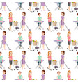 housewifes homemaker woman cute cleaning cartoon vector image vector image