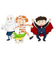 Kids dressed up for halloween vector image vector image