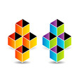 Logo with colorful cubes and shadow vector image vector image