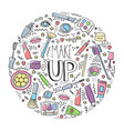 Make up doodle logo in circle with lipstick cream