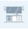 Modern interior of a bathroom with washing machine vector image vector image
