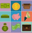 money finances set icons vector image