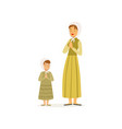 mother with her daughter prays to the lord woman vector image