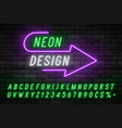 neon light alphabet realistic extra glowing font vector image vector image