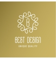 Ornament with leaves best design a gold logo line vector image