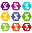 percentage of black friday icons set 9 vector image vector image
