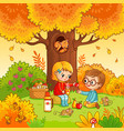 picnic in the forest with children vector image vector image