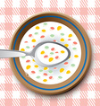 Plate with spoon and flakes vector image