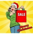 Pop Art Woman with Christmas Sale Shopping Bags vector image vector image