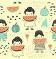 seamless pattern with cute girls and watermelons vector image