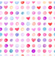 seamless pattern with hand drawn hearts and dots vector image