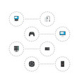 set of pc icons flat style symbols with server vector image vector image
