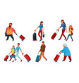 set people travelling with backpacks and vector image vector image