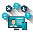 set technology online services medical isolated vector image vector image