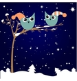 simple card of two funny cartoon owls with vector image vector image
