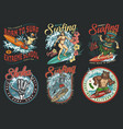 surfing club vintage colorful labels vector image vector image