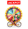 wheel of fortune with jackpot title and happy vector image
