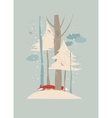 Winter landscape with trees and fox vector image vector image