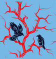 seamless tree with crows vector image