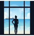 silhouette of woman standing looking to sea view vector image